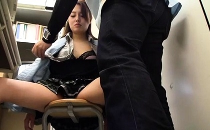 Beautiful Japanese babe fingered and sucks cock at the office