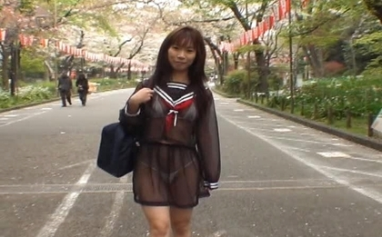 Mikan Cute Asian student flashes her way through town