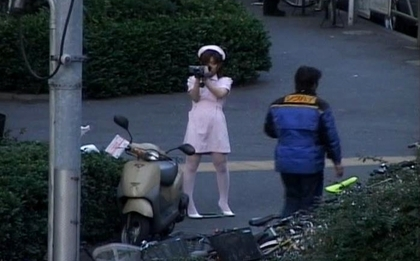 Naughty Asian girl is  in public